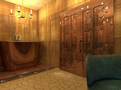 3D-rendering-graphic-spanish-yellow-tile-copper-bathtub-pink-aqua-floor-tile-gold-tiles-on-walls