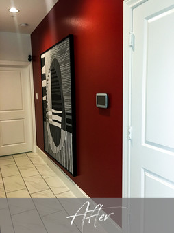 Entry Area Fire Red Wall & Black White Abstract Custom Artwork