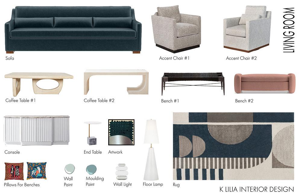 Bella Blue Living Room Furniture Board Virtual Interior Design By K Lilia Interior Design