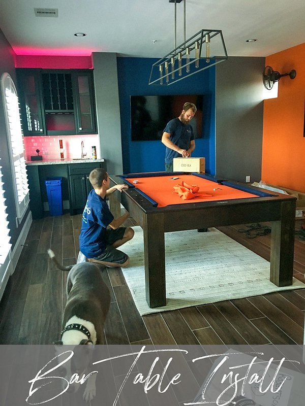 Game Room Pool Table Installation Modern