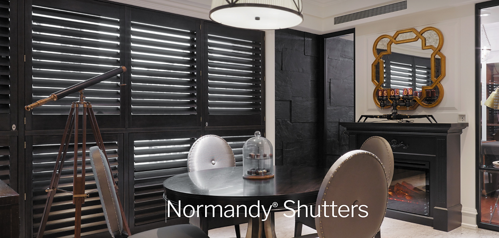 Normandy Shutters Black in Dining Room Area