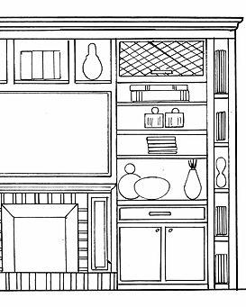 Bookcase Design Black White Rendering
