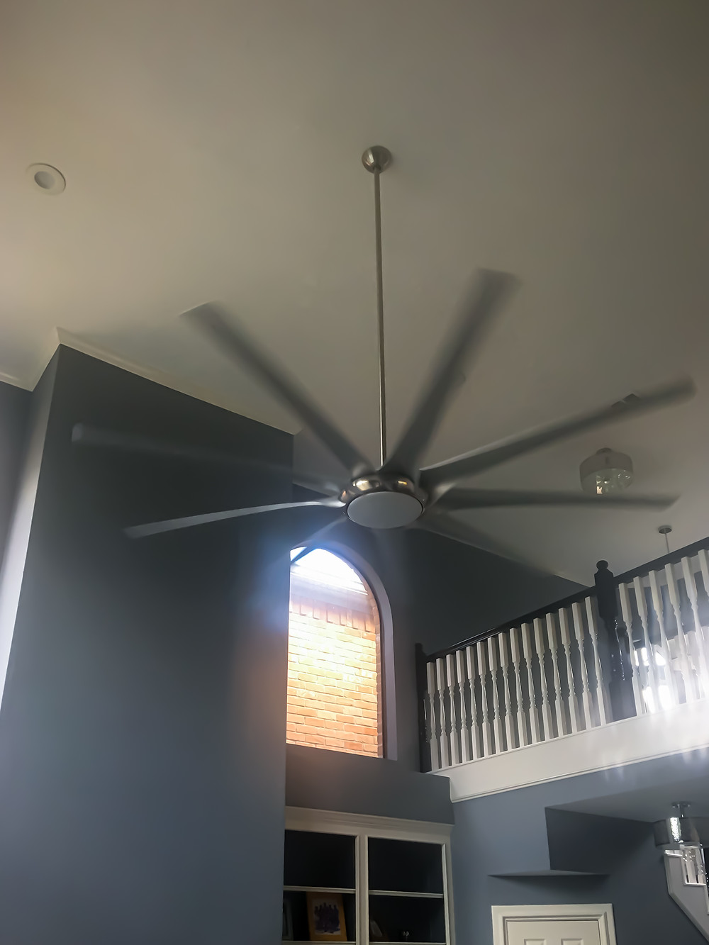 "99"" Six Blades Steel Silver Ceiling Fan Installation in Client's Contemporary Living Room"