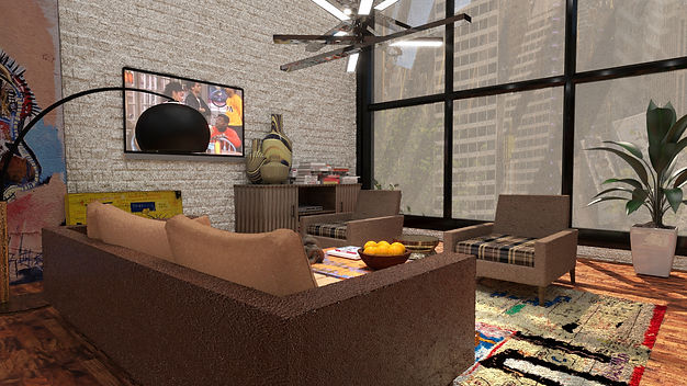 3D Image of Living Room Basquiat Paintin