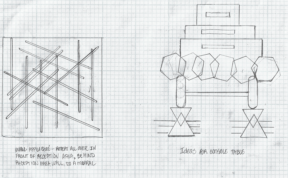 Ideation Sketches for Hotel Lobby Reception Area of  Wall Treatment and Console Desk