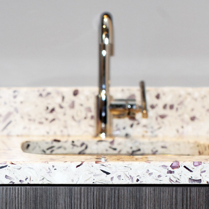 Recycled glass countertop by Vetrazzo
