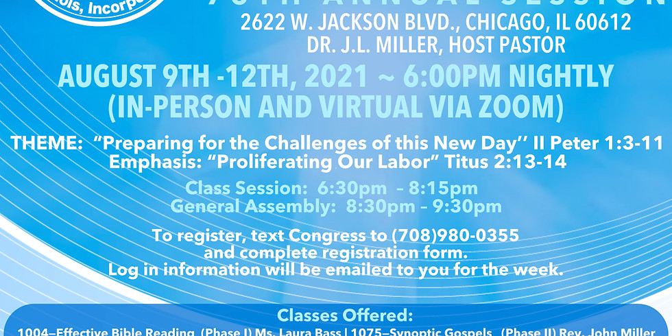 UBSC Congress of  Christian Education 75th Annual Session