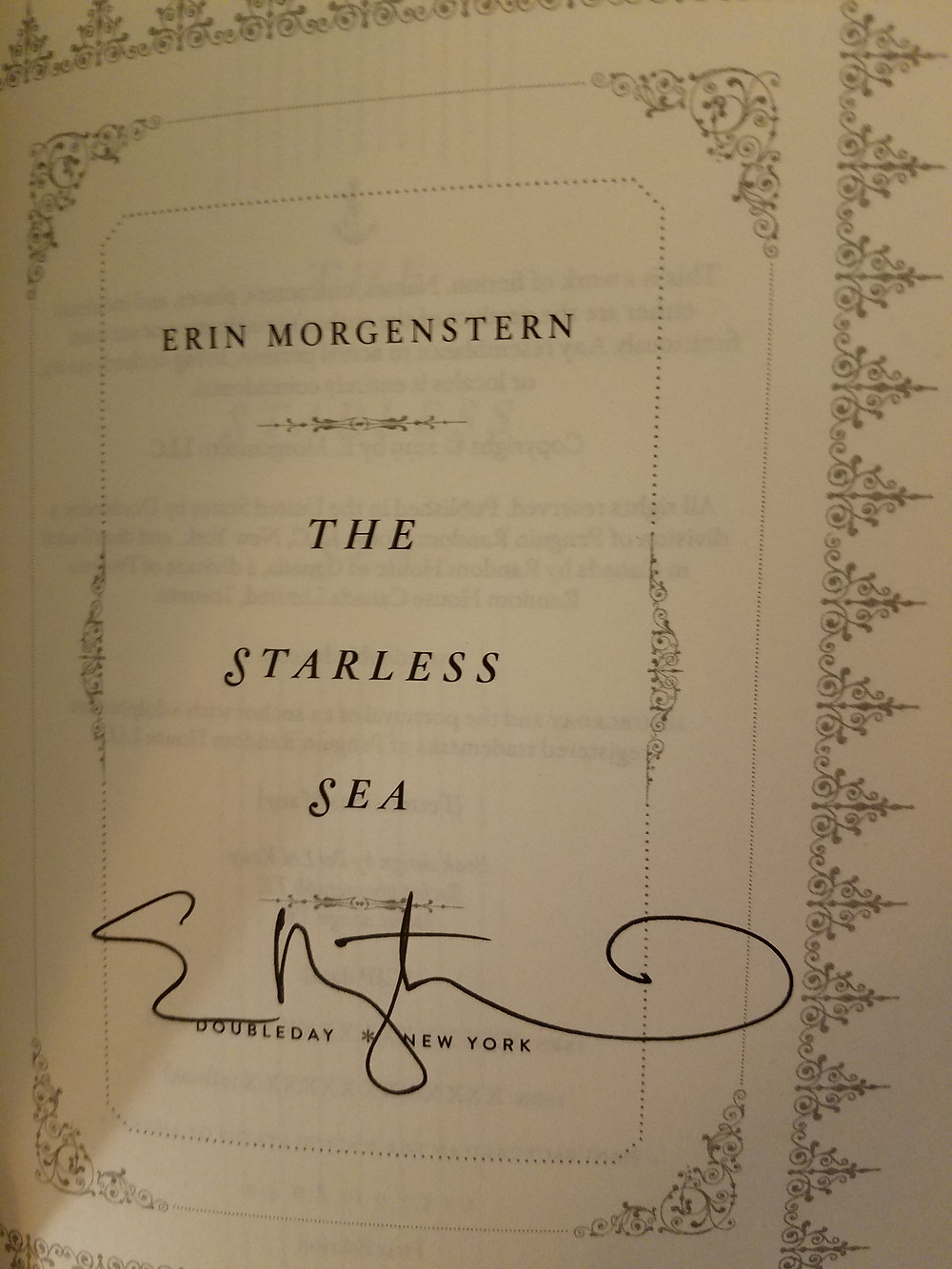 Signed copy of The Starless Sea by Erin Morgenstern