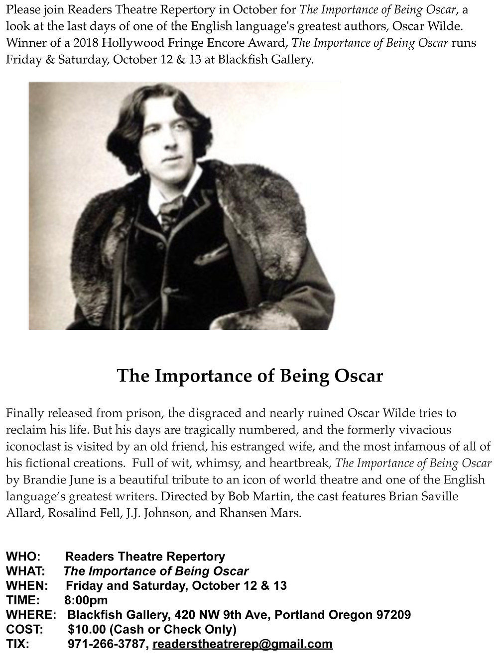 Oscar Wilde play by playwright and author Brandie June goes to Portland