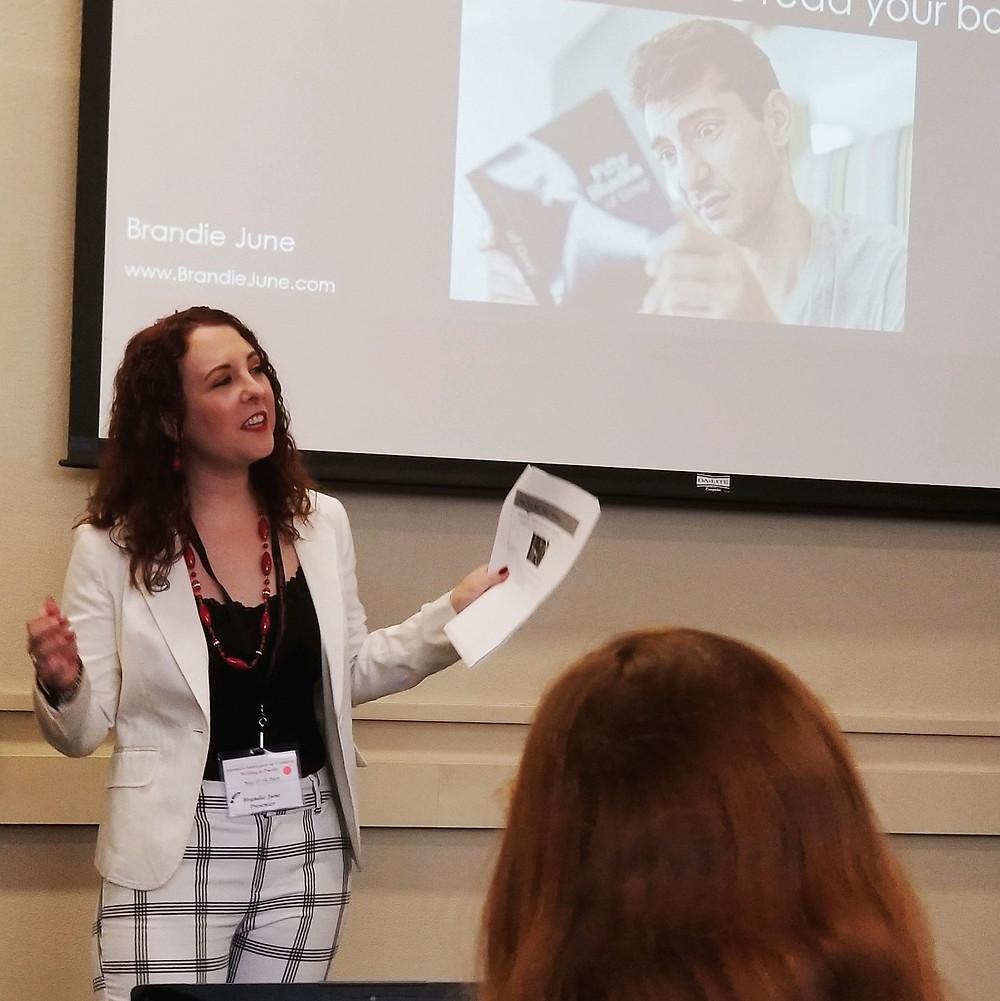 Author Brandie June teaching marketing tips to writers