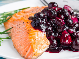 Salmon with Blueberry and Rosemary sauce