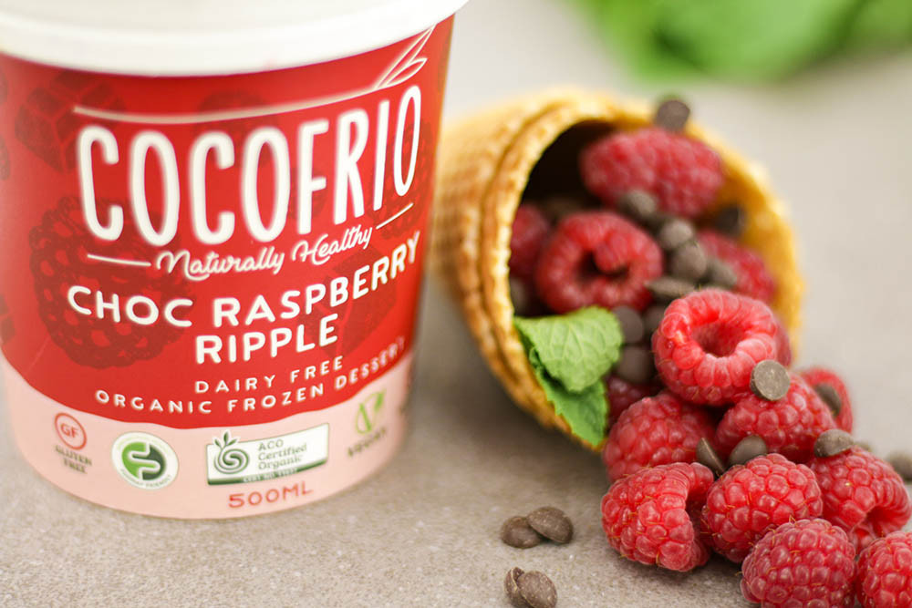Cocofrio Choc Raspberry Ripple product photography by Melbourne digital marketing agency Haines Media