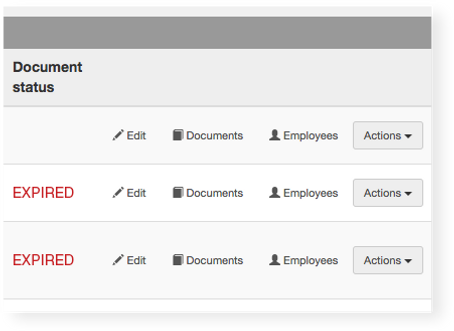 Lucdity contractor software screen featuring documebt status
