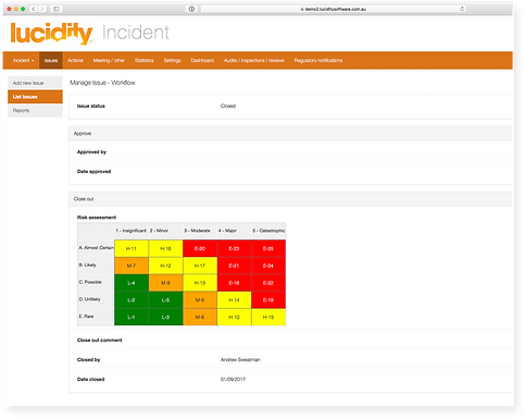 Lucidity Incident Notifications screen