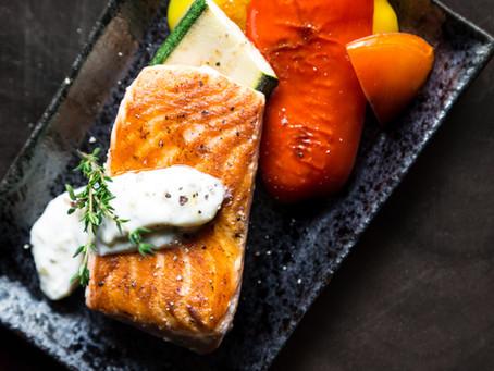 Pan-Seared Salmon with Yoghurt Sauce
