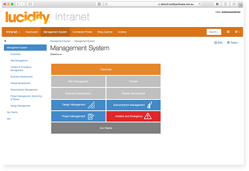 Lucidity Intranet Screen