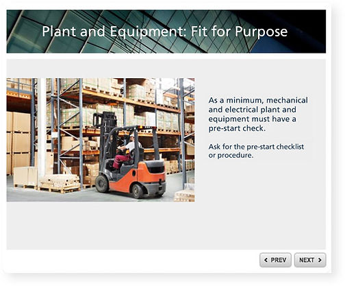 Plant and equipment inductin