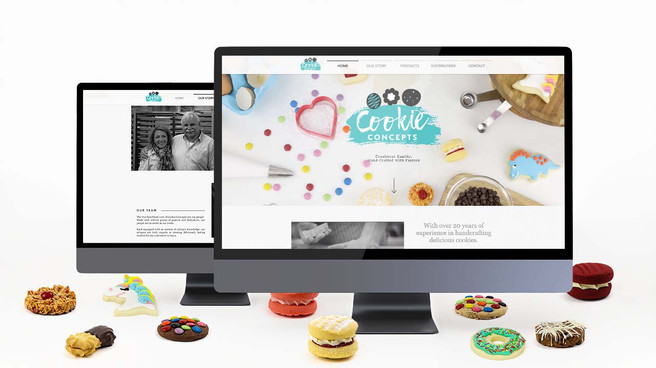 Cookie Concepts website homepage displayed on a computer as developed by Melbourne digital marketing agency Haines Media