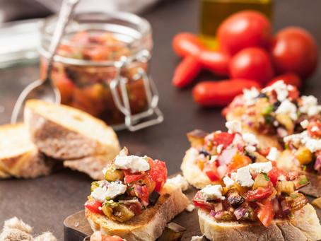 Tomato Basil Bruschetta with Feta Drizzle