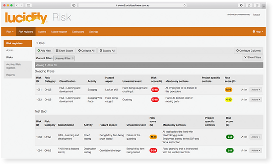 Lucidiy Risk multiple risk screen