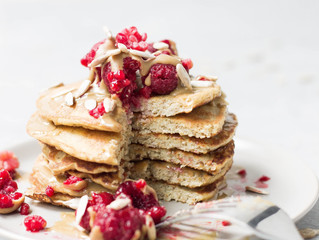 Paleo Pancakes with Raspberries & Almond Butter