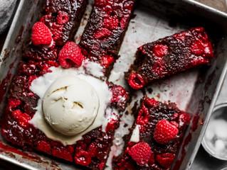 Easy vegan raspberry chocolate brownies