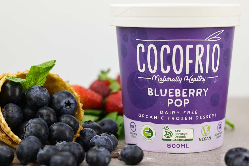 Cocofrio Blueberry Pop product photography by Melbourne digital marketing agency Haines Media