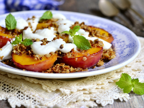 Breakfast Recipe: Grilled Peaches with Granola and Yoghurt