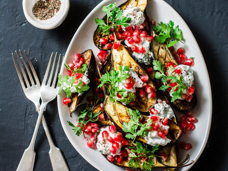 MIDDLE EASTERN STYLE GRILLED EGGPLANT WITH POMEGRANATE AND YOGHURT SAUCE