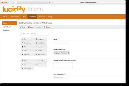 Lucidity InForm screen