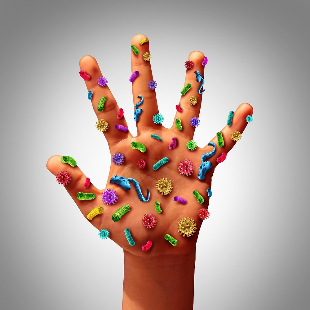 Hand covered in bacteria - Coronavirus
