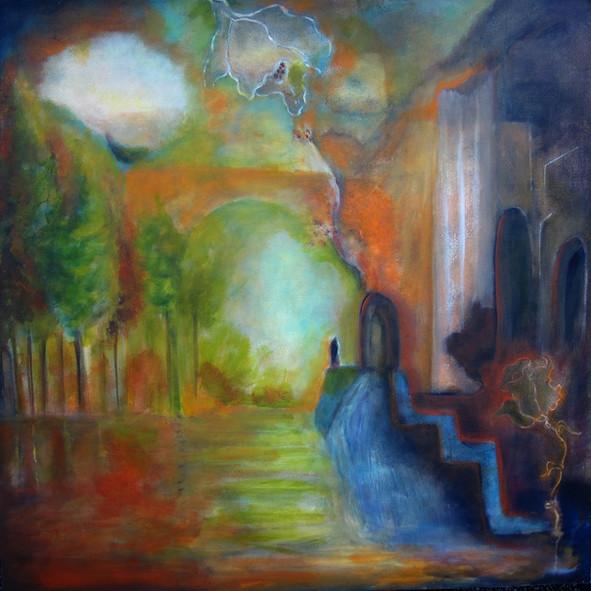 Persephone_36x36_ acrylic on canvas_Janet Strayer Art