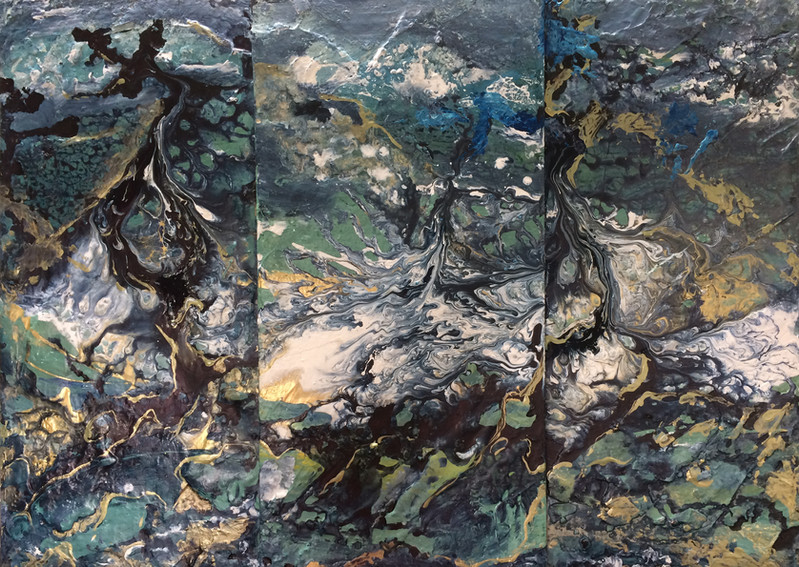 """Tectonic Shifts triptych,34x24"""",acrylic on 3 overlaid canvas, SOLD"""