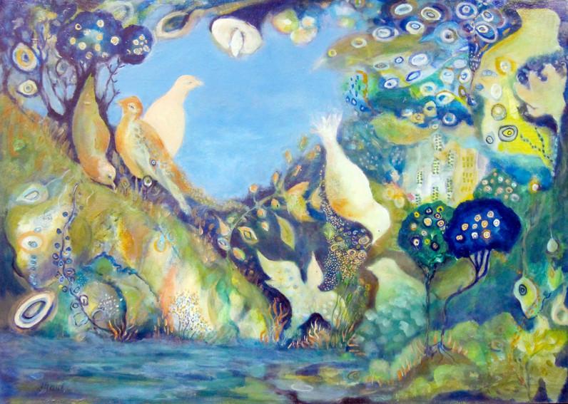 "Birdland,acrylic on canvas, 30""x40"" SOLD"