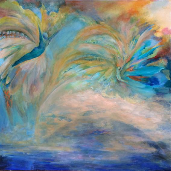 "Daedalus & Icarus, acrylics, 36""x36"""