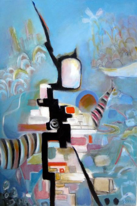 "Crossing La Mancha, 36""x24"", acrylic on canvas"