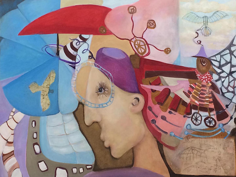 "DaVinci's Flying Machine, 30""x40"", acrylic on canvas"