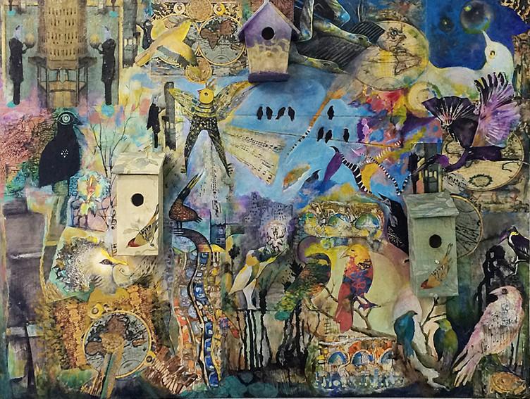 "Birdland Collage,mixed media on wood, 36""x48"", SOLD"