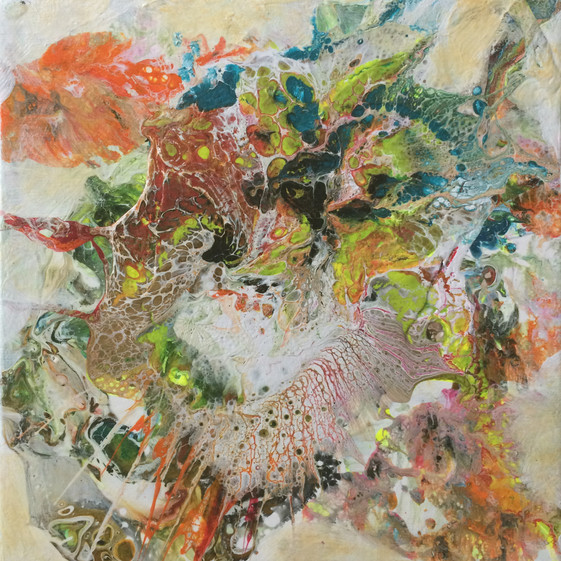 """Life Forms series by Janet Strayer: Fantasia #4, 8""""x8"""", acrylic on canvas"""