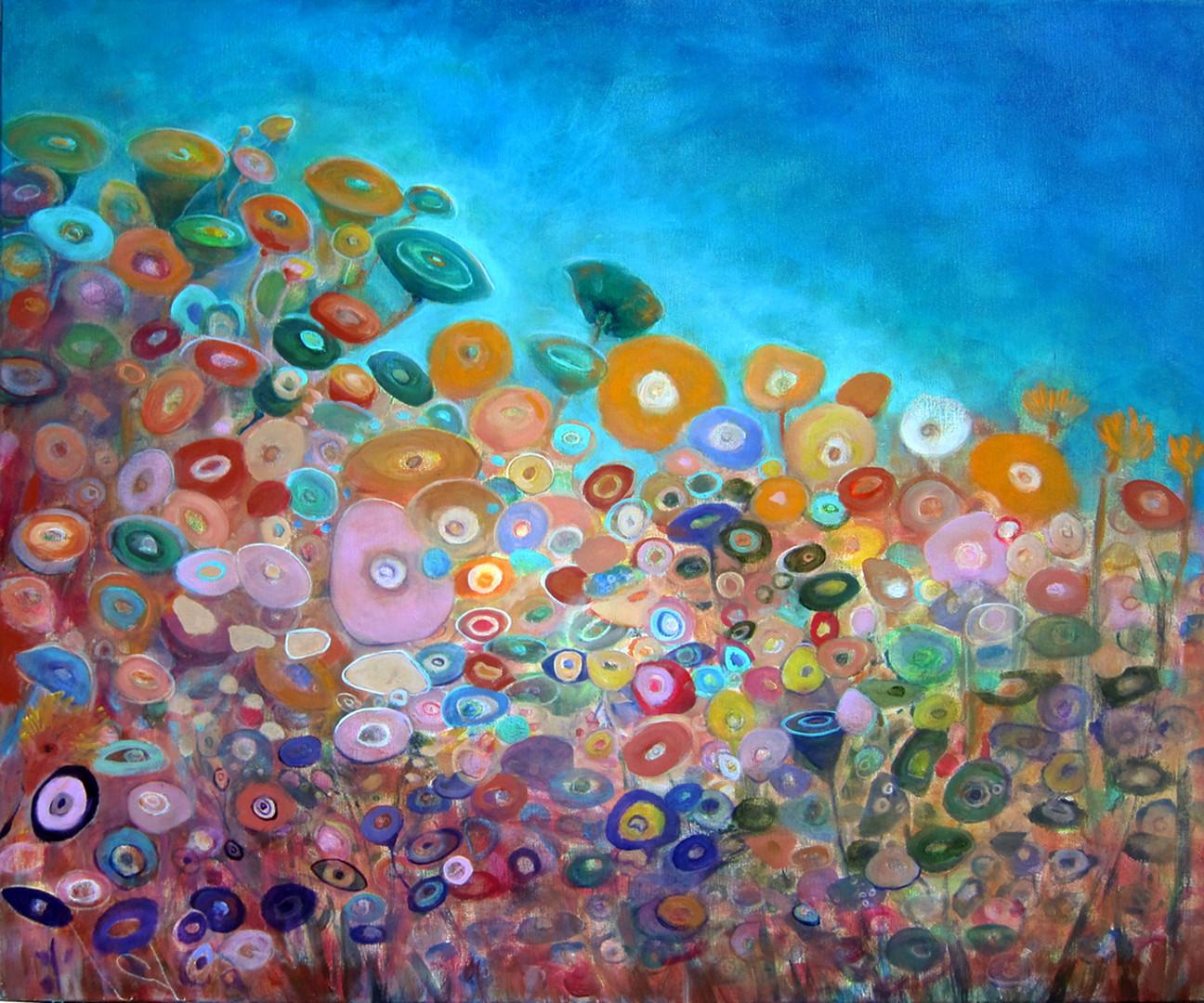 "Twilight Blooms, 30""x36"", acrylic on canvas  Janet_Strayer_Art"