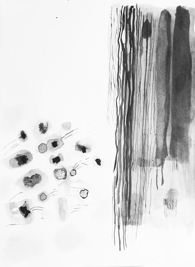 """Affinities, 18.5""""x13.5"""", acrylic and ink on Arches/Fabriano paper (Intimations series)"""