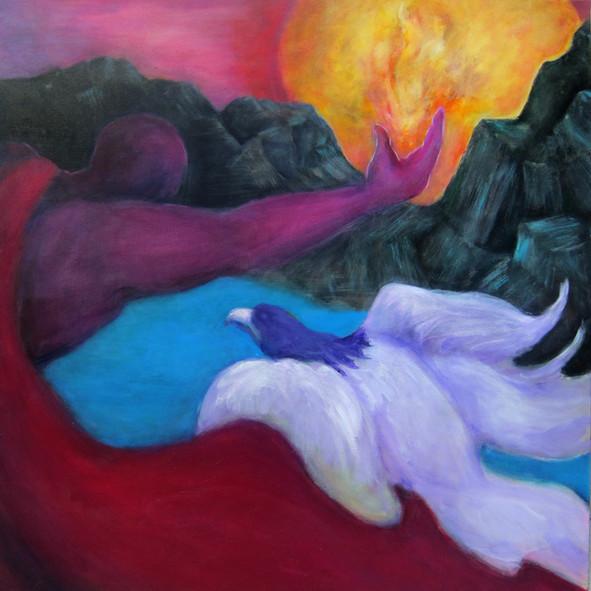 "Prometheus,acrylic on canvas, 36""x36"""