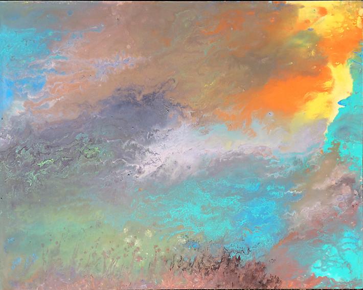 Flow series: Gathering_30x24_acrylic on wood panel