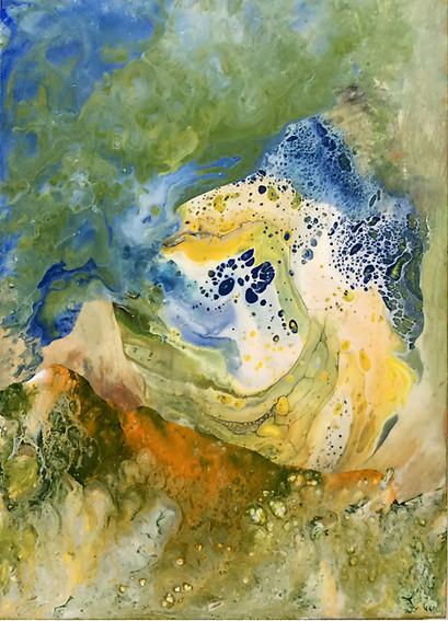 """Earth Dances With Sea#2, 12""""x16:, acrylic on wood panel"""