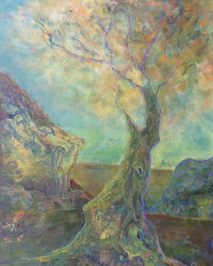 "Autumn Tree, acrylic on paper,30""x24"" SOLD"