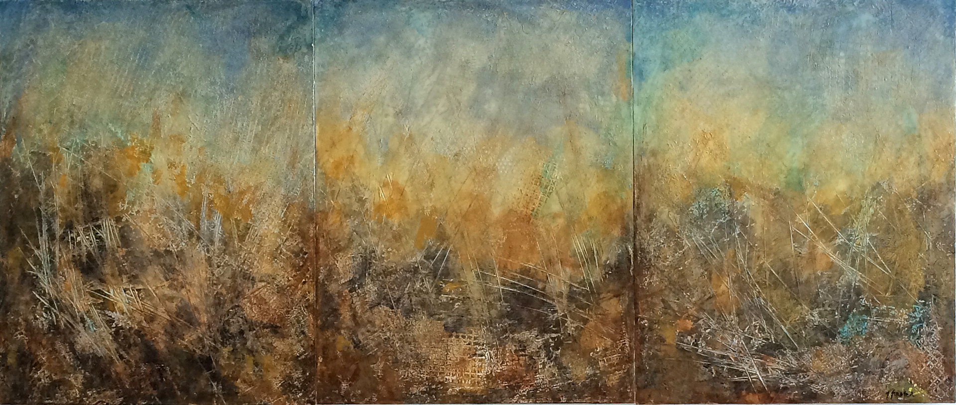 """Dynamic Field triptych_  acrylic on wood, 28""""x60"""", artist's collection"""