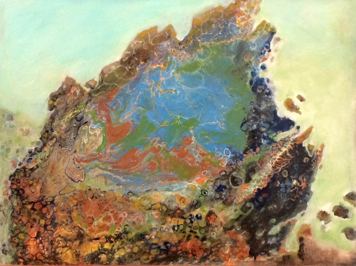 """Geode, 18""""x24"""" acrylic on wood panel, janetstrayer.com"""