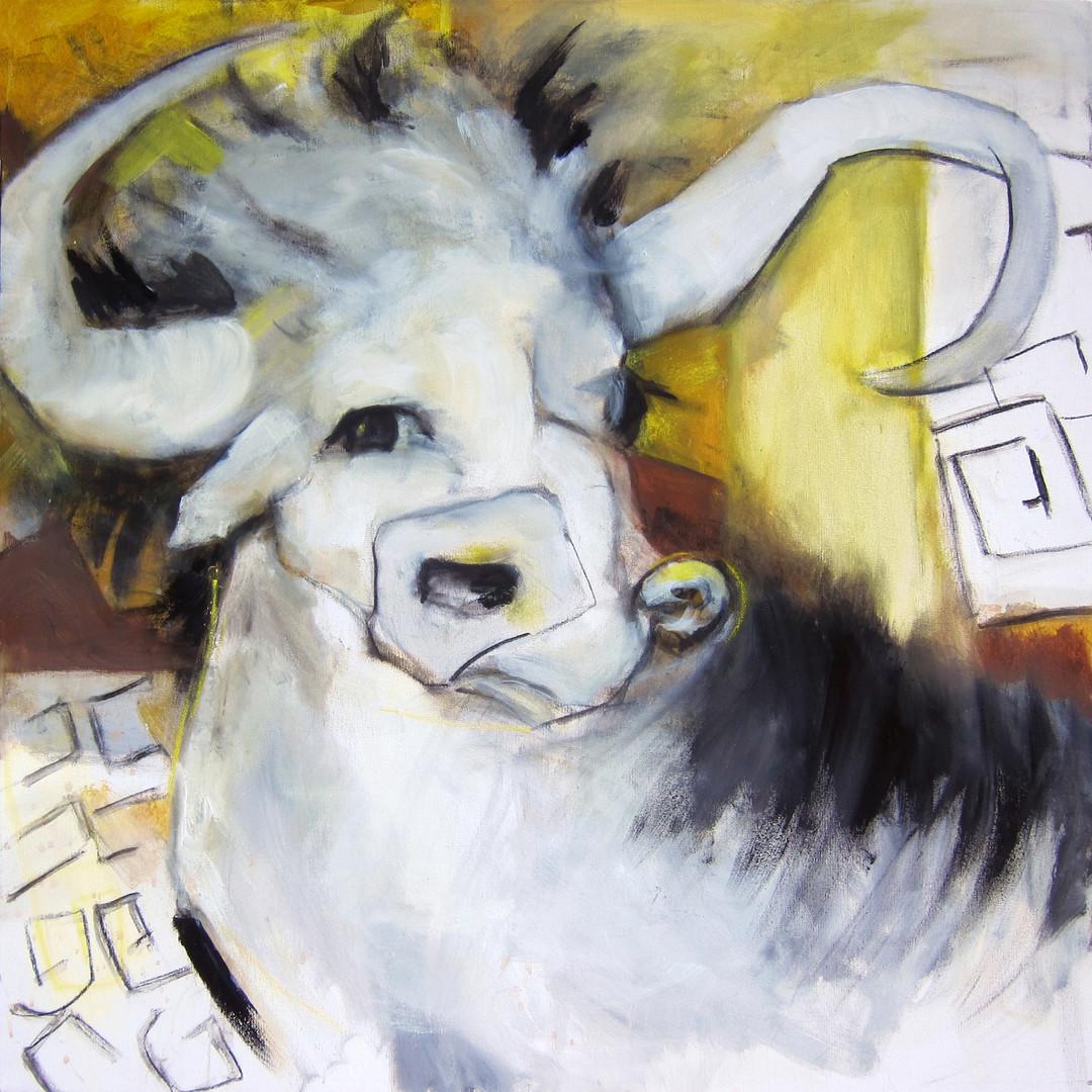 """Minotaur, acrylic on canvas, 36x36"""""""