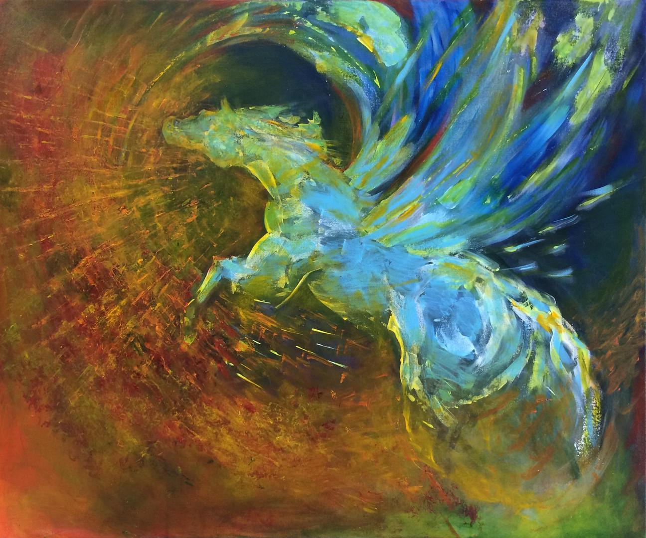 "Pegasus, acrylics, 30""x36"""