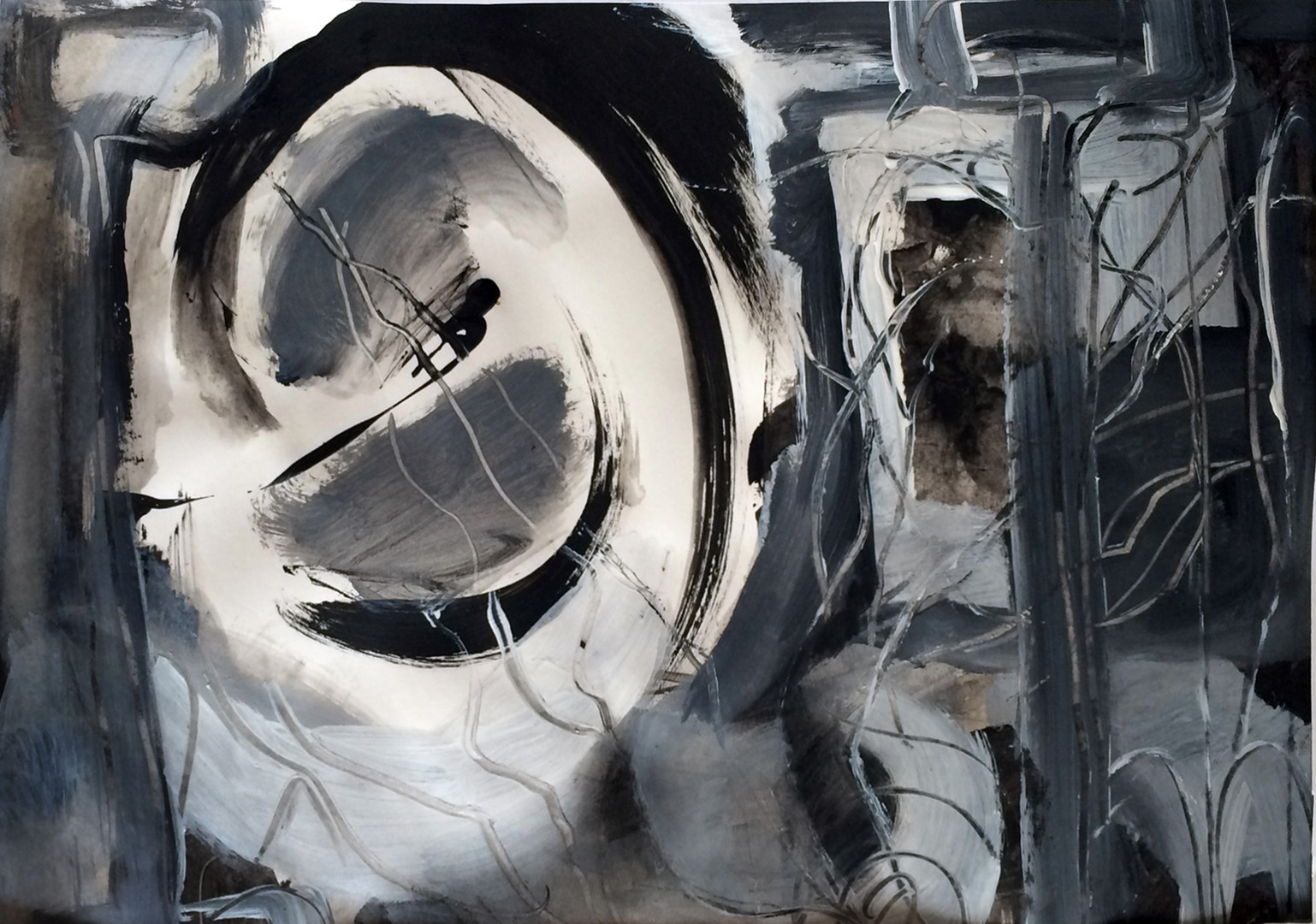 """Riding the Storm, 17""""x24"""", acrylic and ink on Arches/Fabriano paper (Intimations series)"""